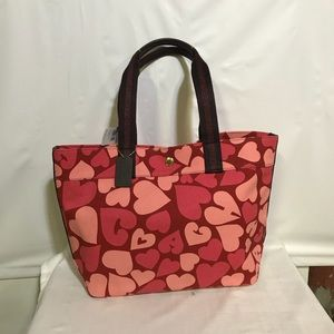Coach large heart canvas tote NWT